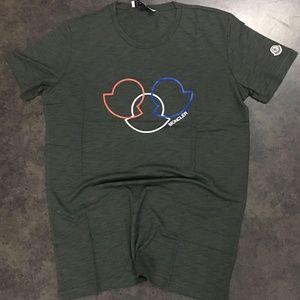 Moncler Shirts - MONCLER GREY CASUAL MEN T-SHIRT